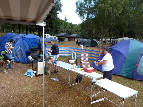 Setting up camp - plenty of tables